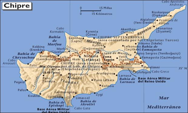 Mapa de situación de Chipre