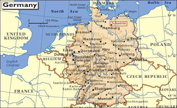 Mapa de situación de Schwerin