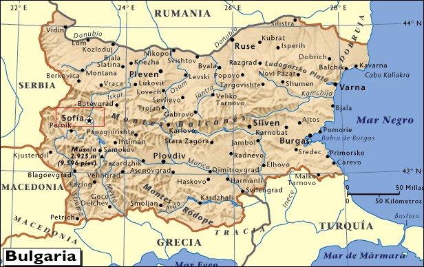 Mapa de situación de Sofía