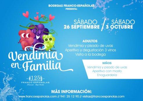 Vendimia en familia en el centro de la ciudad de Logroño