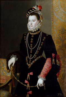 Juan Pantoja de la Cruz. La reina Isabel de Valois, tercera esposa de Felipe II. Sala 56 del Museo del Prado