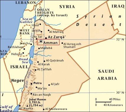 Mapa de situación de Ammán