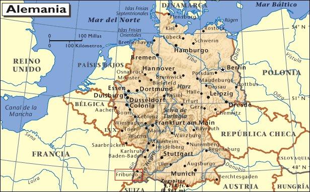 Mapa de situación de Friburgo