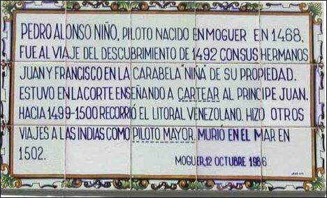 Placa de Moguer a Alonso Niño