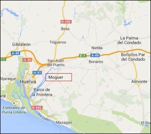 Mapa de situación de Moguer