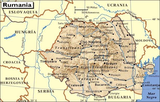 Mapa de situación de Rumanía