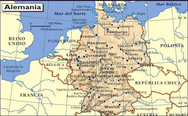 Mapa de situación de Hamburgo