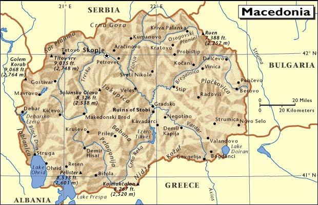 Mapa de situación de Macedonia