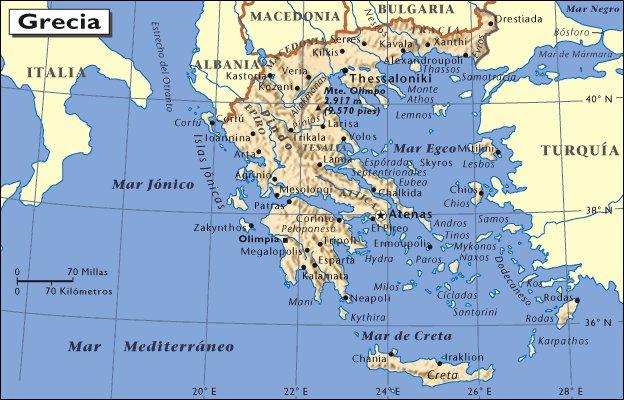 Mapa de situación de Grecia